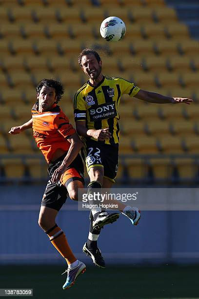 Andrew Durante of the Phoenix and Thomas Broich of the Roar challenge for a header during the round 19 ALeague match between Wellington Phoenix and...