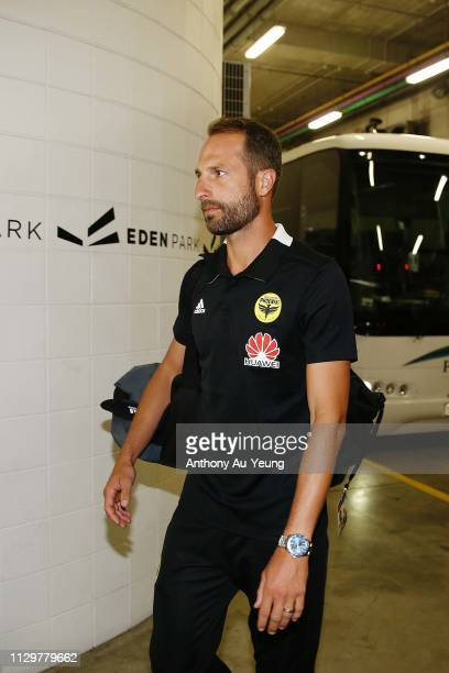 Andrew Durante of the Phoenix arrives to the venue ahead of the ALeague match between the Wellington Phoenix and the Melbourne Victory at Eden Park...