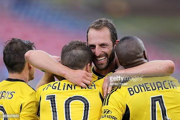 Andrew Durante of the Phoenix celebrates a goal with his team during the round 10 ALeague match between the Newcastle Jets and the Wellington Phoenix...