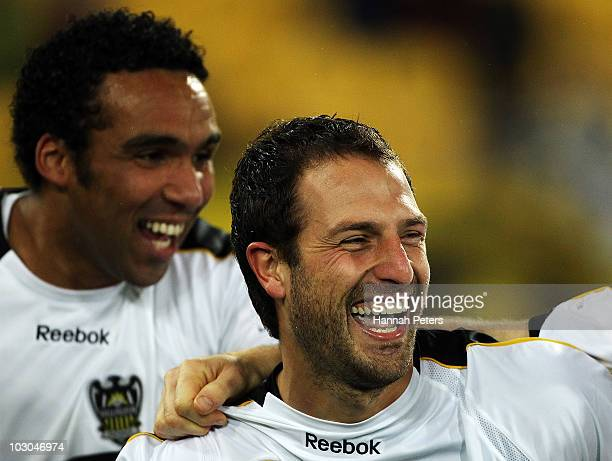 Andrew Durante of the Phoenix celebrates after scoring during the preseason friendly match between Wellington Phoenix and Boca Juniors at Westpac...