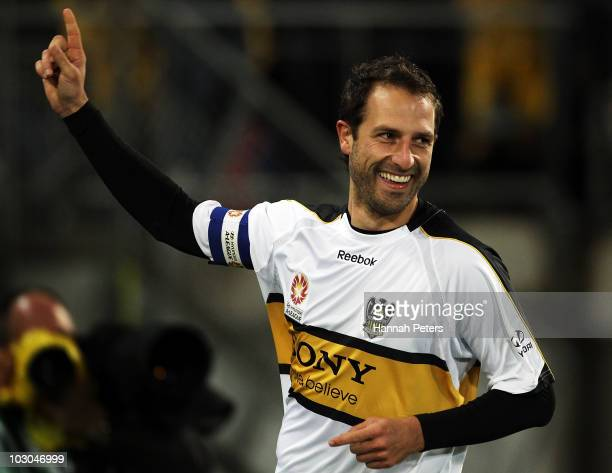 Andrew Durante of the Phoenix celebrates after scoring during the pre-season friendly match between Wellington Phoenix and Boca Juniors at Westpac...