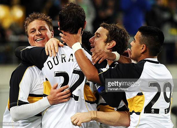 Andrew Durante of the Phoenix celebrates after scoring with the team during the preseason friendly match between Wellington Phoenix and Boca Juniors...