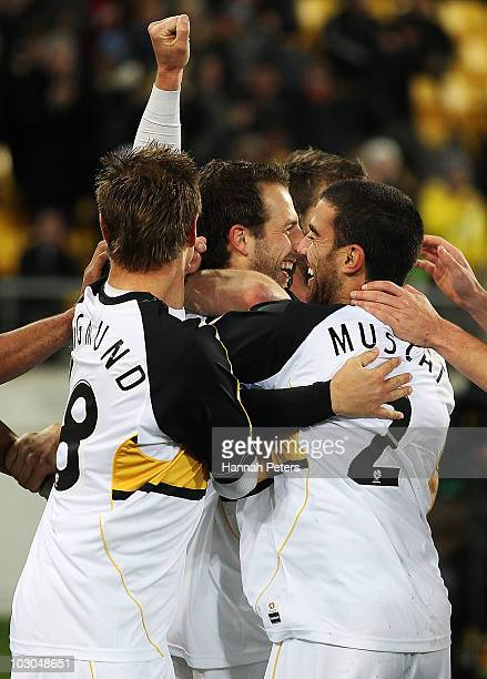 Andrew Durante of the Phoenix celebrates after scoring with the team during the pre-season friendly match between Wellington Phoenix and Boca Juniors...