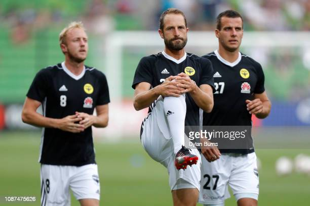 Andrew Durante of the Phoenix looks on during the warmup prior to the round 10 ALeague match between the Melbourne Victory and the Wellington Phoenix...