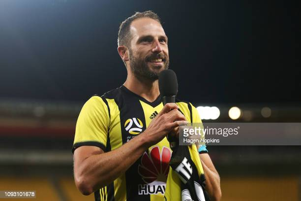 Andrew Durante of the Phoenix makes a speech after his 300th game during the round 13 ALeague match between the Wellington Phoenix and the Central...
