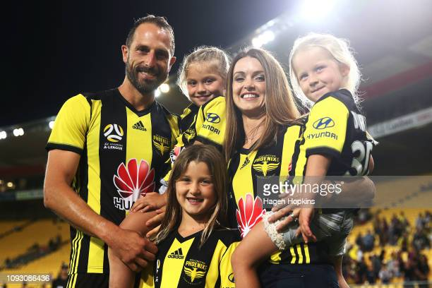 Andrew Durante of the Phoenix poses with his wife Sarah and three daughters Adalyn Milana and Evita during the round 13 ALeague match between the...