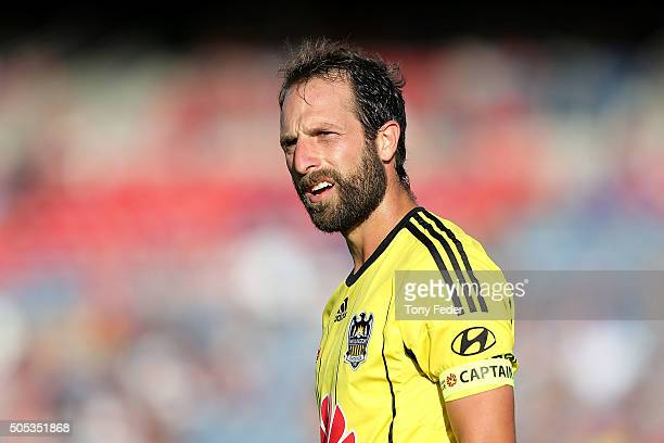 Andrew Durante of the Phoenix reacts during the round 15 ALeague match between the Newcastle Jets and the Wellington Phoenix at Hunter Stadium on...