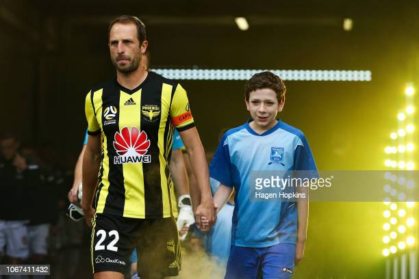 Andrew Durante of the Phoenix takes the field during the round six ALeague match between the Wellington Phoenix and the Perth Glory at Westpac...