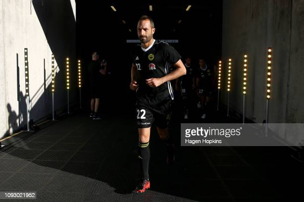 Andrew Durante of the Phoenix takes the field for his 300th game during the round 13 ALeague match between the Wellington Phoenix and the Central...
