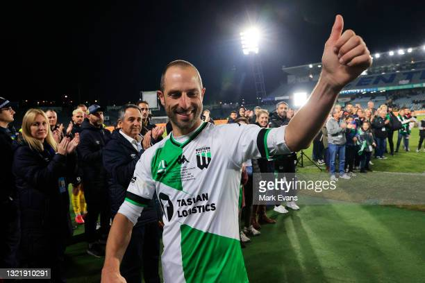Andrew Durante of United during a guard of honour after his last game in the A-League match between Central Coast Mariners and Western United at...