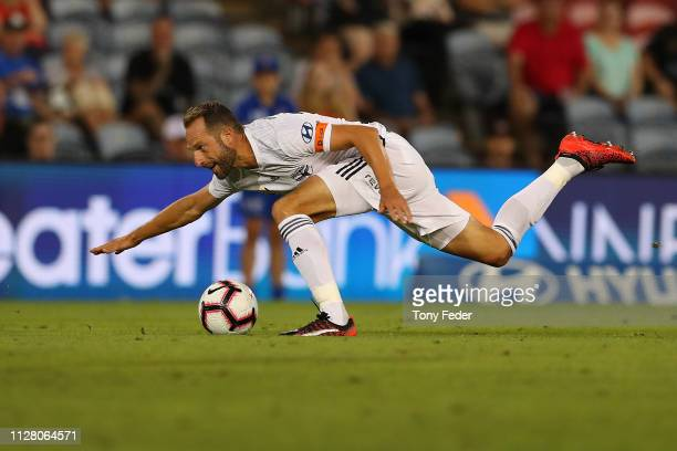 Andrew Durante of Wellington Phoenix during the round 18 ALeague match between the Newcastle Jets and the Wellington Phoenix at McDonald Jones...
