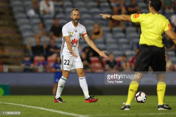 Andrew Durante of Wellington Phoenix pleads with the referee during the round 18 ALeague match between the Newcastle Jets and the Wellington Phoenix...