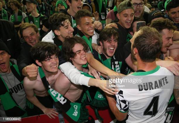 Andrew Durante of Western United celebrates with fans after winning the round four ALeague match between Melbourne Victory and Western United at...