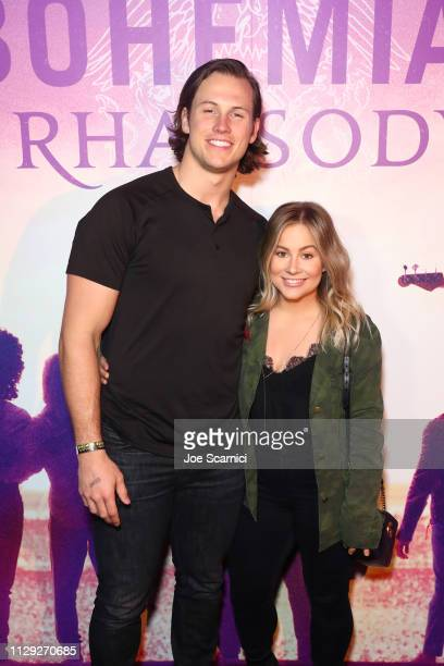 Andrew East and Shawn Johnson attend Bohemian Rhapsody's Get Loud Extravaganza at Whiskey a Go Go on February 12 2019 in Los Angeles California