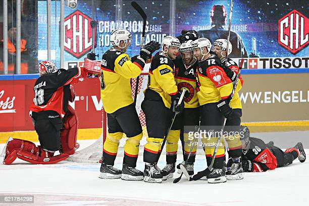Andrew Ebbett of Bern celebrates the 2-3 goal during the third period of Champions Hockey League Round of 16 match between JYP Jyvaskyla and SC Bern...