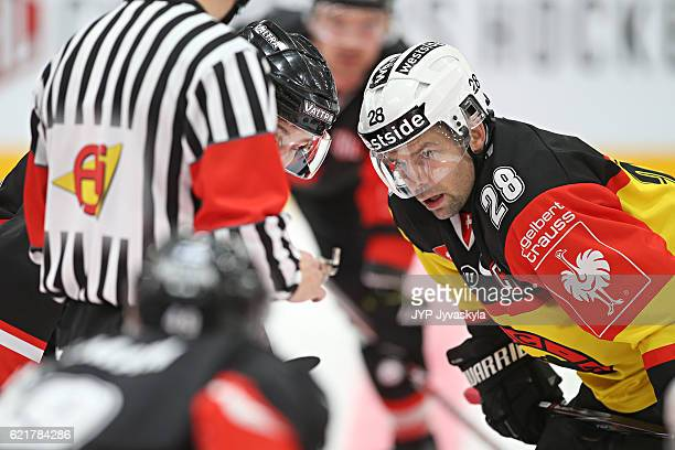 Andrew Ebbett of Bern getting ready for face off during the third period of Champions Hockey League Round of 16 match between JYP Jyvaskyla and SC...