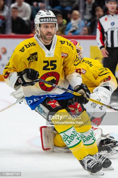 Andrew Ebbett of SC Bern looks on during the Swiss National League game between Lausanne HC and SC Bern at Vaudoise Arena on November 1, 2019 in...