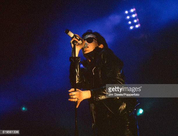 Andrew Eldritch of Sisters of Mercy performing on stage at the Wembley Arena in London on the 26th November 1990