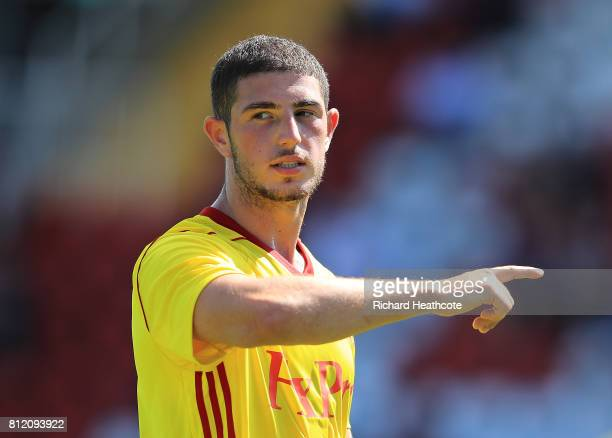 Andrew Eleftheriou of Watford in action during the preseason friendly match between Woking and Watford U23 at the Laithwaite Community Stadium on...