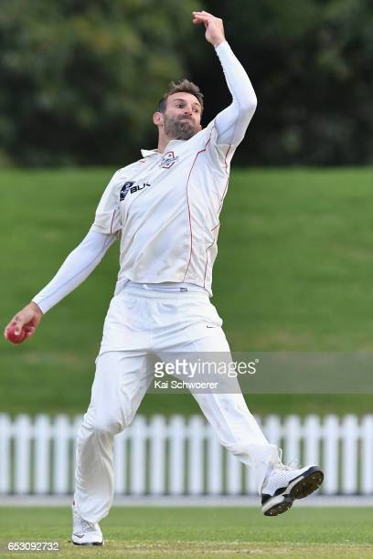 Andrew Ellis of Canterbury bowling during the Plunket Shield match between Canterbury and Otago on March 14 2017 in Christchurch New Zealand