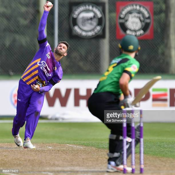 Andrew Ellis of Canterbury bowls during the Super Smash match between the Canterbury Kings and the Central Stags on December 22 2017 in Rangiora New...