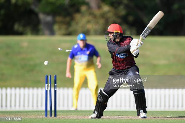 Andrew Ellis of Canterbury is bowled by Jacob Duffy of Otago during the Ford Trophy match between Canterbury and Otago at Hagley Oval on February 05...