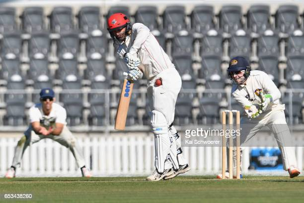 Andrew Ellis of Canterbury is hit by the ball during the Plunket Shield match between Canterbury and Otago on March 15 2017 in Christchurch New...