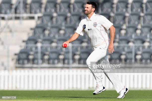 Andrew Ellis of Canterbury runs in to bowl during the Plunket Shield match between Canterbury and Wellington on March 30 2017 in Christchurch New...