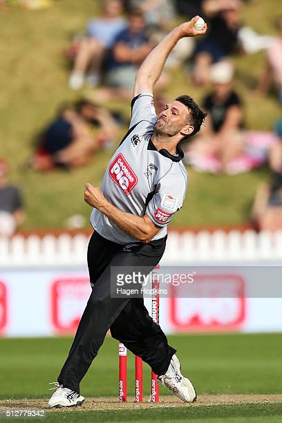 Andrew Ellis of South Island bowls during the Island of Origin Twenty20 at Basin Reserve on February 28 2016 in Wellington New Zealand