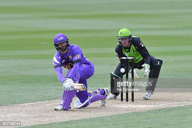 Andrew Ellis of the Kings bats during the T20 practice match between Canterbury Kings and Sydney Thunder at Hagley Oval on December 2 2016 in...