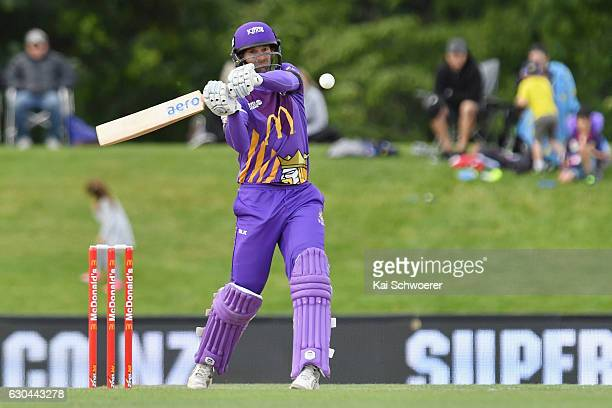 Andrew Ellis of the Kings batting during the McDonalds Super Smash T20 match between Canterbury Kings and Otago Volts at Hagley Oval on December 23...