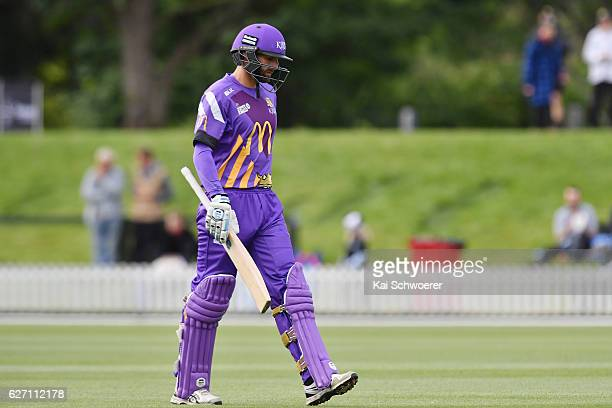 Andrew Ellis of the Kings looks dejected after being dismissed by Liam Hatcher of the Thunder during the T20 practice match between Canterbury Kings...