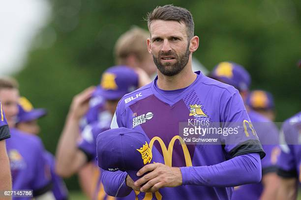 Andrew Ellis of the Kings looks on during the T20 practice match between Canterbury Kings and Sydney Thunder at Hagley Oval on December 2 2016 in...