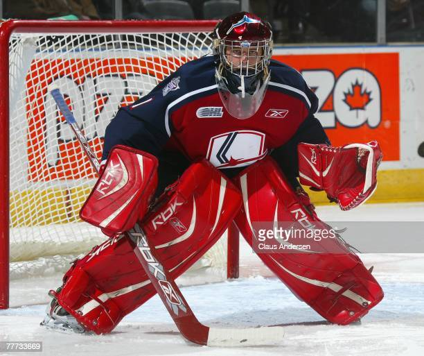 Andrew Engelage of the Windsor Spitfires waits for a shot in a game against the London Knights on November 2 2007 at the John Labatt Centre in London...