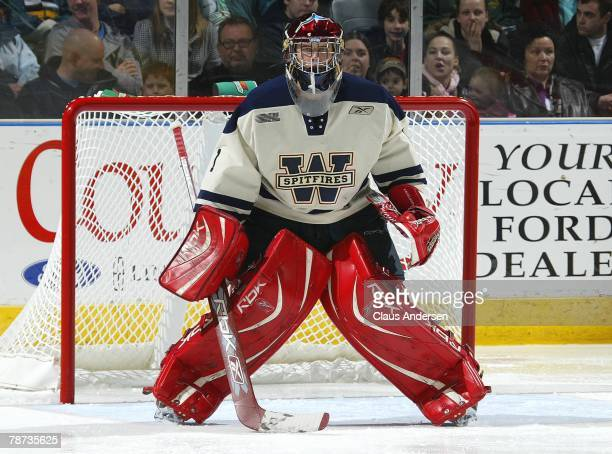 Andrew Engelage of the Windsor Spitfires waits for a shot in a game against the London Knights on December 28 2007 at the John Labatt Centre in...