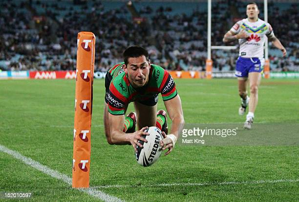 Andrew Everingham of the Rabbitohs dives over to score in the corner during the NRL Semi Final match between the South Sydney Rabbitohs and the...