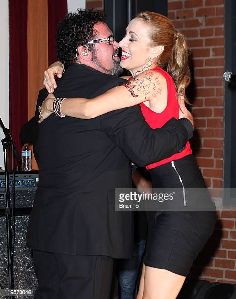 Andrew Farriss and Hanna Rochelle attend Lyric Culture presents 'Electro Sexual' collection with INXS at the Gibson showroom on July 21 2011 in Los...