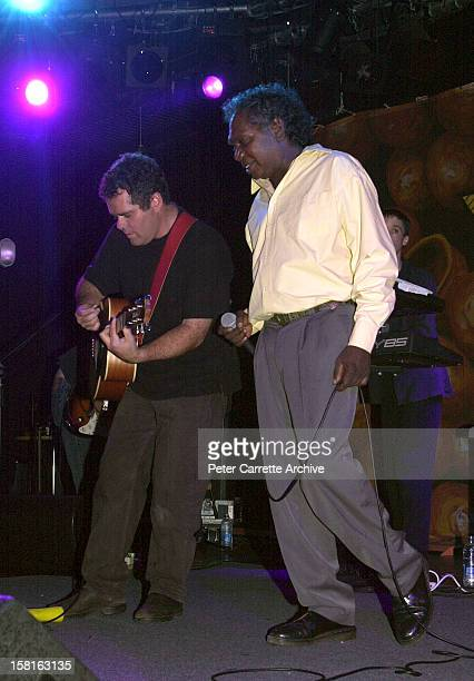 Andrew Farriss and Mandawuy Yunupingu perform live on stage with the band Yothu Yindi at the 6th Annual Deadly Awards at City Live on October 22,...