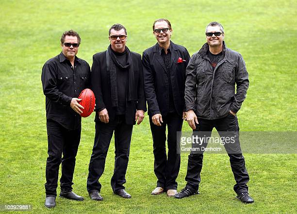 Andrew Farriss Tim Farriss Kirk Pengilly and Jon Farriss of INXS pose following the announcement that the band will headline the prematch...