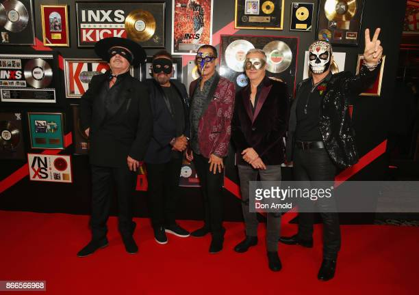 Andrew Farriss Tim Farriss Kirk Pengilly Garry Gary Beers and Jon Farriss of INXS arrive ahead of the INXS Masquerade Party at State Theatre on...