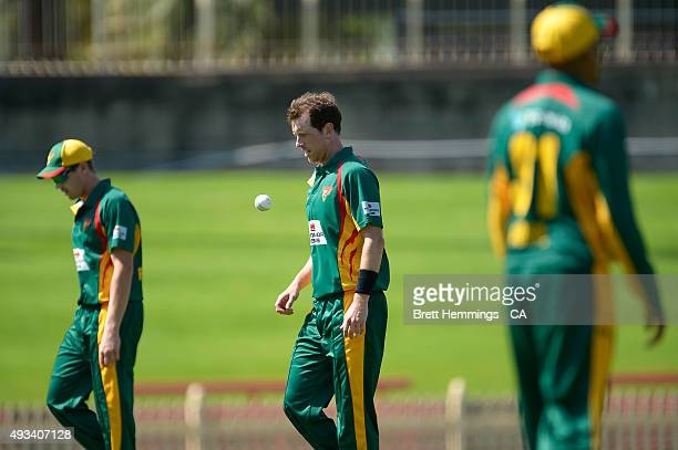 Andrew Fekete of Tasmania catches the ball during the Matador BBQs One Day Cup match between Tasmania and Victoria at North Sydney Oval on October 20...