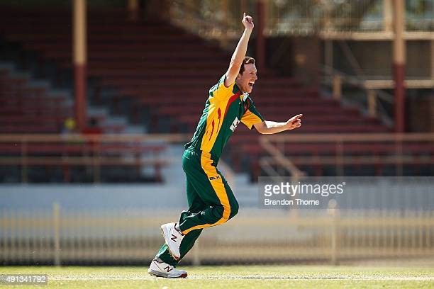 Andrew Fekete of Tasmania celebrates after claiming the wicket of Peter Forrest of Qld during the Matador BBQs One Day Cup match between Queensland...