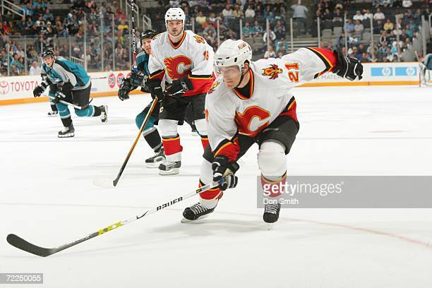 Andrew Ference of the Calgary Flames skates during a preseason game against the San Jose Sharks on September 30 2006 at the HP Pavilion in San Jose...