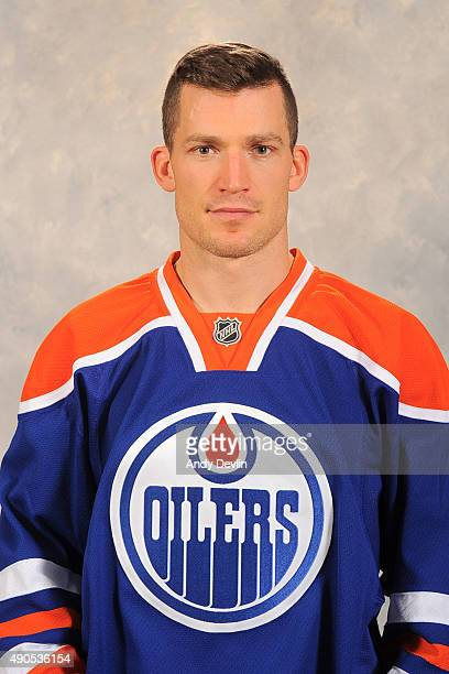 Andrew Ference of the Edmonton Oilers poses for his official headshot for the 20152016 season on September 17 2015 at the Rexall Place in Edmonton...