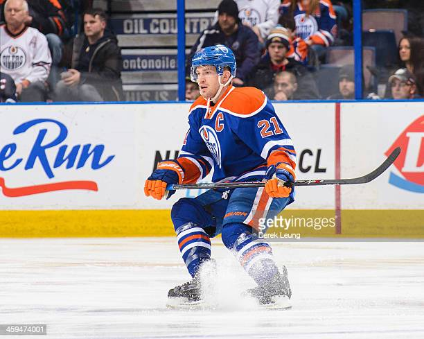 Andrew Ference of the Edmonton Oilers skates against the Winnipeg Jets during an NHL game at Rexall Place on December 23 2013 in Edmonton Alberta...