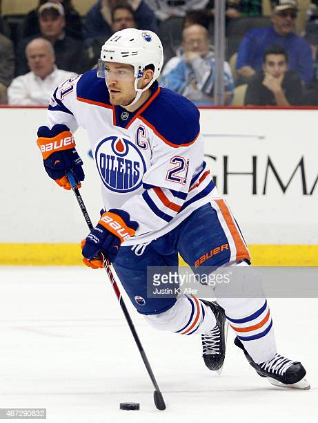 Andrew Ference of the Edmonton Oilers skates during the game against the Pittsburgh Penguins at Consol Energy Center on March 12 2015 in Pittsburgh...