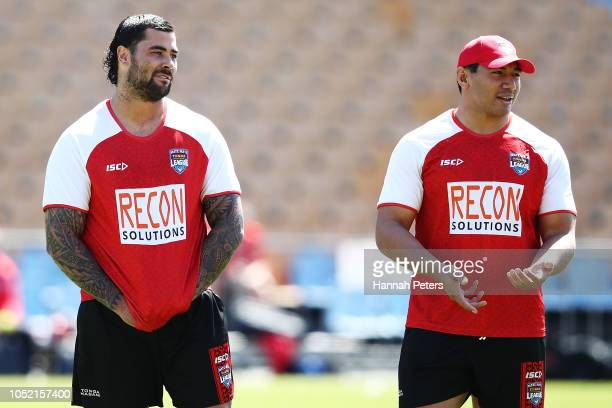 Andrew Fifita and Jason Taumalolo look on during a Mate Ma'a Tonga Training Session at Mt Smart Stadium on October 15 2018 in Auckland New Zealand