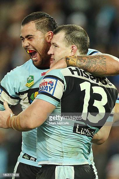 Andrew Fifita and Paul Gallen of the Sharks celebrate winning the NRL Elimination Final match between the Cronulla Sharks and the North Queensland...