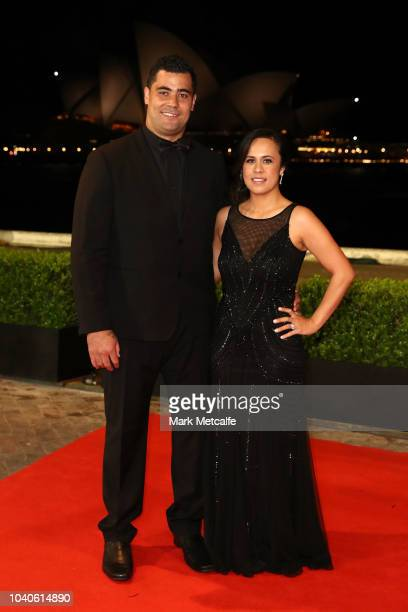 Andrew Fifita and this wife Nikkita Fifita arrive at the 2018 Dally M Awards at Overseas Passenger Terminal on September 26 2018 in Sydney Australia