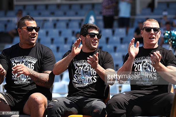 Andrew Fifita Michael Ennis and Luke Lewis of the Sharks celebrate during the Cronulla Sharks NRL Grand Final celebrations at Southern Cross Group...